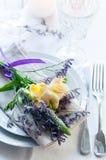 Table setting with freesias Stock Photo