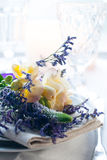 Table setting with freesias Royalty Free Stock Images