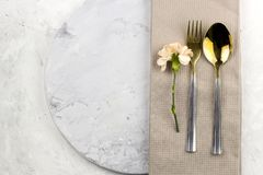 Table setting with fresh flower stock photography