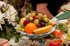 Table setting with fruits Stock Images