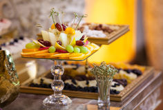 Table setting fruits at the wedding reception stock image