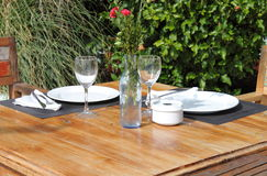Table setting in a garden Stock Image