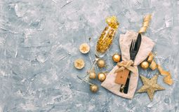 Table setting with gift boxes and holiday decorations top view. royalty free stock image