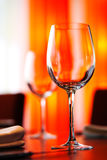 Table setting with glass. Table setting at a restaurant stock image