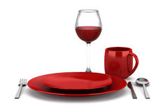 Table setting with glass of red wine isolated on white Stock Photos