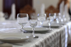 Table setting with glasses Royalty Free Stock Photography