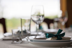 Table setting. Glasses on the table. Table setting. Glasses on the table, plates, utensils, tables. in the restaurant Royalty Free Stock Images