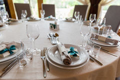 Table setting. Glasses on the table. Royalty Free Stock Photos