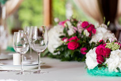 Table setting. Glasses on the table. Stock Photos