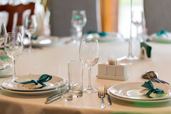 Table setting. Glasses on the table. Table setting. Glasses on the table, plates, utensils, tables. in the restaurant Royalty Free Stock Image
