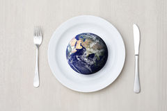 Table setting and globe stock photo