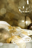Table setting in gold Stock Photos