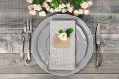 Table setting in gray Royalty Free Stock Images