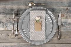 Table setting in gray Royalty Free Stock Photography