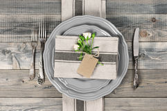 Table setting in gray Royalty Free Stock Photos