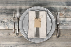 Table setting in gray Stock Photography