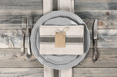 Table setting in gray Royalty Free Stock Photo