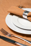 Table setting in green Stock Photos