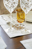 Table setting with hand embroidered place mats  Stock Photos