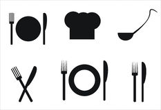 Table setting icons Stock Photos