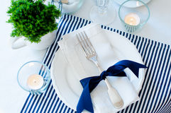 Table Setting In Navy Blue Tones