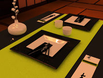 Table setting in Japanese style Royalty Free Stock Images