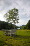 A table setting at Jordan Pond stock photography