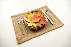 Table setting with leaves Royalty Free Stock Photography