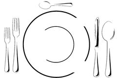 Table setting in line art Royalty Free Stock Photos