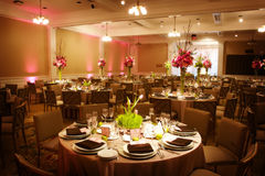 Table setting at a luxury wedding reception Stock Photography