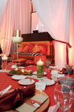 Table setting at a luxury wedding reception Royalty Free Stock Photography