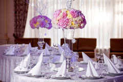 Table setting at a luxury wedding reception. Stock Photos