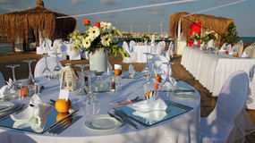 Table Setting at a Luxury Wedding Reception. Wedding reception place ready for guests Stock Images