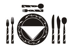 Table setting for a meal. Table setting: black crockery adorned with white ornament stock illustration