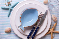 Table setting in nautical style Royalty Free Stock Photos