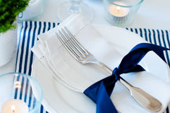 Table setting in navy blue tones Royalty Free Stock Images