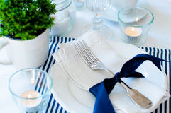 Table setting in navy blue tones Royalty Free Stock Photos