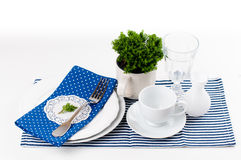 Table setting in navy blue tones Royalty Free Stock Image