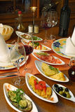 Table Setting Of Spanish Tapas Stock Photo