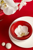 Table setting with orchid flowers. Table setting with white orchid flowers on red tablecloth on brick wall background royalty free stock images