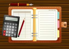 Table setting with organizer and calculator. Illustration Royalty Free Stock Photo