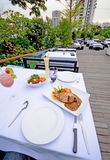 Table setting outdoor restaurant Stock Photos
