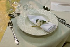 Table setting with a plate Royalty Free Stock Image