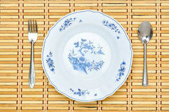 Table setting. Plate fork knife white empty stock image