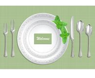 Table setting with plate, spoon, knife and fork on a green fabric background. Vector illustration stock illustration