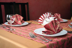 Table setting with plates Stock Photos