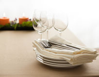 Table setting with real tree decoration Stock Images