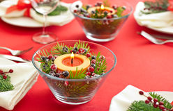 Table setting with real tree decoration Stock Photo