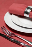 Table setting in red Stock Photo