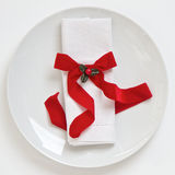 Table setting with red Christmas ribbon Royalty Free Stock Photography